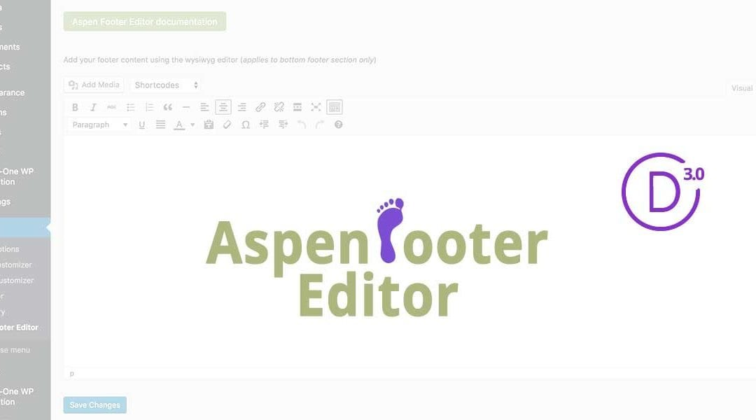 Take your Divi & Extra Footer Credentials to the Next Level with the Aspen Footer Editor