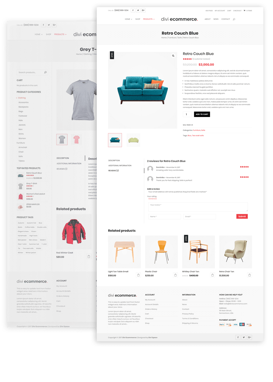 divi ecommerce Product Pages
