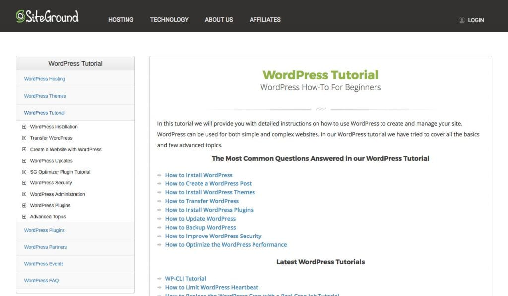 Siteground WordPress tutorials
