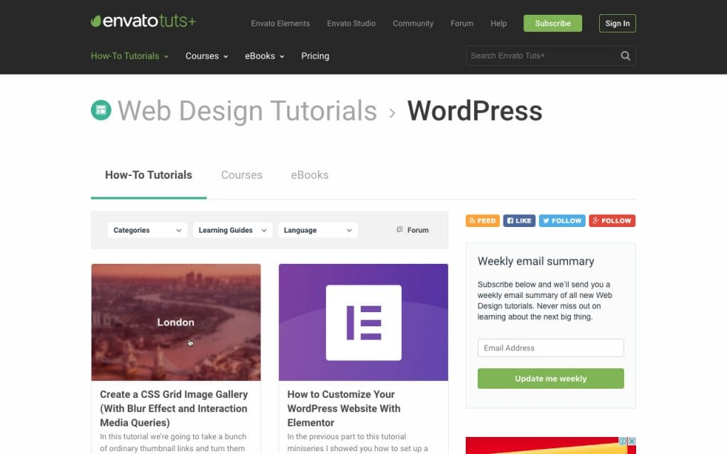 Envato Tuts Tuts+ WordPress tutorials