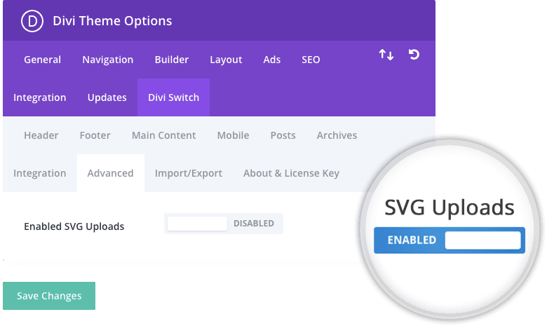Divi Switch plugin enable SVG for WordPress switch