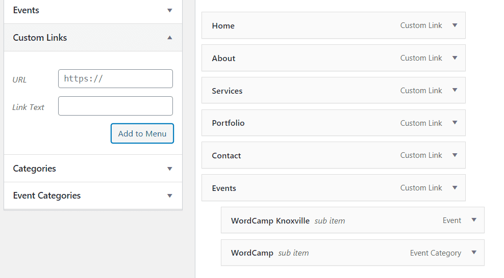 Adding the Events Page to Your Menu
