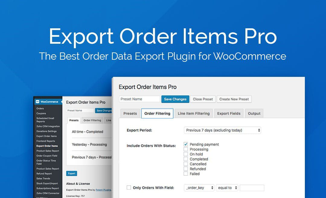 Export Order Items Pro for WooCommerce
