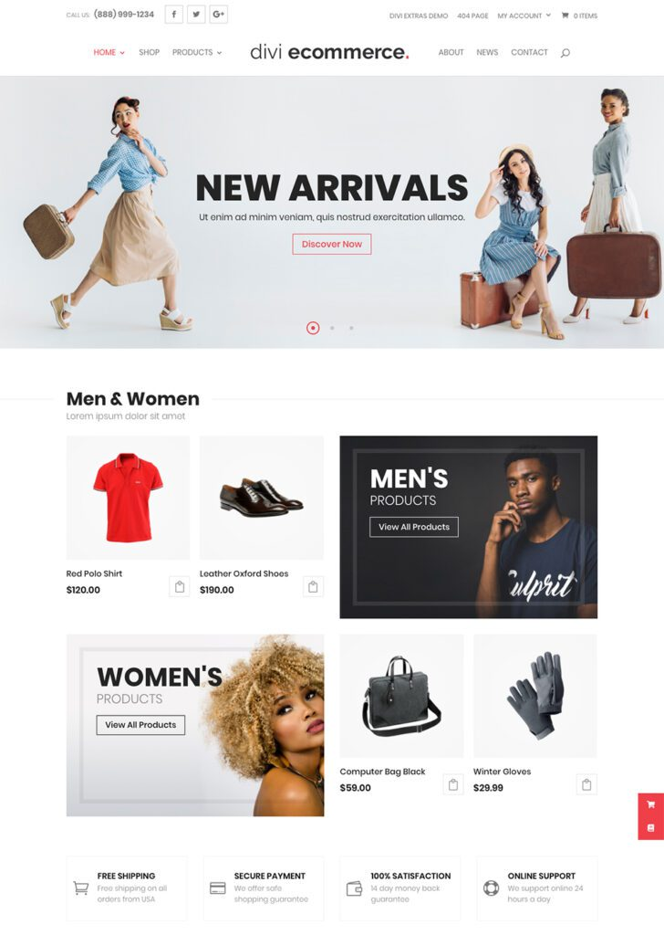 Divi eCommerce homepage
